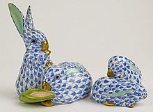 Two Pair Vintage Herend Porcelain Rabbit Pairs Domestic Animals. Blue Fishnet with Gold Accent. All Signed in Blue Herend Hungary Hand painted. Pair of Rabbits with Corn 3-1/4 Inches Tall 2-3/4 Inches Wide, 77 & 2. Impressed 5326 g. Pair of Rabbits
