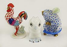 Three Vintage Herend Porcelain Animals consisting of a Rooster Rust Fishnet with Multicolor Wings and Tail 2-3/4 Inches Tall, A Mouse, Sitting Up Blue Fishnet 2-1/4 Inches Tall Both with gold Accent and an Natural Owl with Blue Accent 2 Inches Tall.