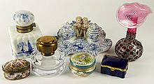 Miscellaneous Seven (7) Piece Lot of Table/Desk Top Items. Includes, Silver Overlay Glass Vase, Figural Blue and White Porcelain Inkstand, Blue and White Dutch Porcelain Inkwell, Small Losses; Crystal, Brass Inkwell; Small Oval Box, signed