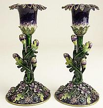 Pair of Jay Strongwater Style Jeweled and Enameled Candlesticks. Wax remnants or in Good Condition. Measures 6-1/4 Inches Tall. Shipping $35.00