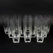 Twelve (12) Circa 1960's Rosenthal Crystal Ice Tea Glasses. Etched signature to base. Rim chip to one otherwise good condition. Measures 7-1/2 inches tall 2-1/2 inches wide. Shipping $125.00