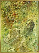 Baruch Zipori, French-Israeli (1920-1987) Moses. Signed lower left, paper label en verso. Mold to back of canvas otherwise good condition. Measures 37 inches tall and 27 inches wide, frame measures 38 inches tall and 27-3/4 inches wide. We will not