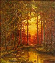 Yuliy Yulevich (Julius) Klever, Russian (1850-1924) oil on canvas, wooded landscape. Signed lower left. Craquelure, otherwise good condition. Measures 35 inches tall and 30 inches wide, frame measures 39 inches tall and 35 inches wide. We will not