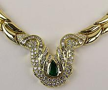 Lady's Italian Chimento 5.50 Carat Round Cut Diamond, 2.0 Carat Pear Shape Emerald and 18 Karat Yellow Gold Necklace. Signed and Hallmarked. Very good condition. Measures approx. 16 inches long. Approx. weight: 55.2 pennyweights. Shipping $32.00