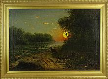 20th Century Oil on Canvas, Deer in Moonlit Landscape. Signed (illegible) lower right. Small areas of paint flaking lower right otherwise good condition. Measures 23-1/4 inches tall and 35 inches wide, frame measures 28-1/4 inches tall and 40 inches