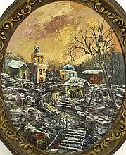 Baruch Zipori, French-Israeli (1920-1987) Oil on Panel, Village Scene. Signed. Good condition. Measures (oval) 23-1/2 inches tall and 18-1/2 inches wide, frame measures 29 inches tall and 24-1/2 inches wide. Shipping $185.00
