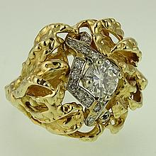 Lady's Vintage Approx. .35 carat Round Cut Diamond and 14 Karat Yellow Gold Ring. Diamond H-I color, VS clarity. Unsigned. Good condition. Ring size 7-1/2. Approx. weight: 7.65 pennyweights. Shipping $26.00