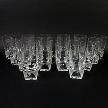 Seventeen (17) Circa 1960's Rosenthal Crystal Tumbler Glasses. Etched signature to base. Rim chip to two glasses otherwise good condition. Measure 5-1/8 inches tall and 2-3/4 inches wide. Shipping $145.00