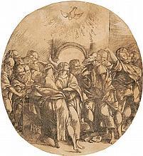 *Domenico Campagnola 1500 Padua 1552 Die Erscheinung des Heiligen Geistes – Pfingsten