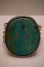 Vintage Navajo Sterling Silver & Turquoise Cuff Bracelet Marked Sterling DLR  104.6 Grams