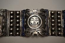 Sterling Silver Hinged Bracelet Marked ASM Mexico .925 7