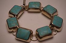 Sterling Silver & Turquoise Bracelet Marked Mexico .925 7-1/2