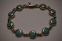 Sterling Silver & Turquoise Bracelet Marked .925 IB-05 8-1/4