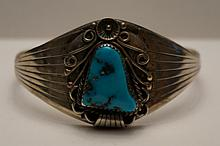 Vintage Sterling & Turquoise Cuff Bracelet by Artist Edith James  28.4 Grams