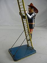 Vintage Marx Tin Litho Wind Up Climbing Fireman
