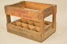Vintage Sanitary Bottling Works Wood Bottle Crate