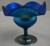 L. C. Tiffany Favrile Blue Stretched Glass Floriform Compote #4985D 4-3/8