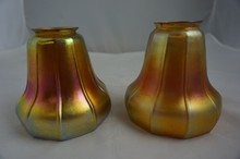 Set of Two Antique Loetz Gold Iridescent Lamp Shades 4-3/4