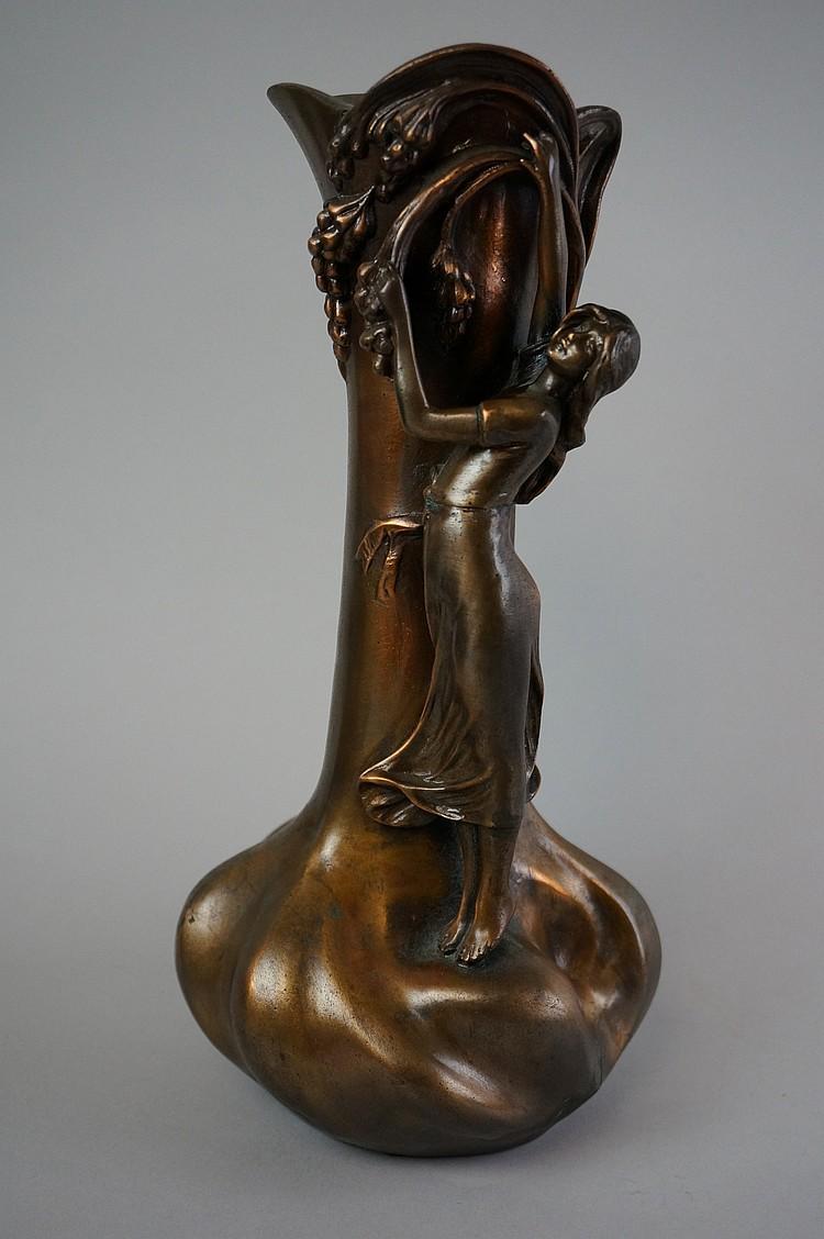 Antique A De Raudery Art Nouveau Spelter Vase With Bronze F
