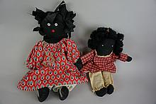 Lot of Two Vintage Black Americana Rag Dolls 14