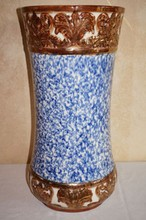 Antique Pottery Umbrella Stand Gold Decorated with Blue Splatter Has Hairline And Flake On The Lip