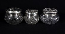 Three Sterling Art Nouveau Powder Dresser Jars
