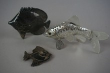 Lot of Three Sterling Fish Two Figures One Pin 1.4 Troy Ounces