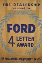Ford 4 Letter Award Outstanding Performance 1957 Gold Dealer Banner with Original Hanging Rod