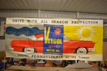 Veedol Flying A Canvas Banner NOS with Great Graphics and Original Ropes