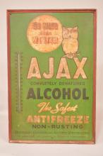 Unusual SST Ajax Denatured Alcohol Thermometer Sign SST Wood Framed
