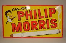 Large Embossed PHILLIP MORRIS Advertising Sign
