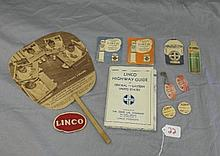 Lot of Linco Marathon Motor Oil Advertising Ephemera- Fan, Sewing Kits, Patches, Keychain, Maps