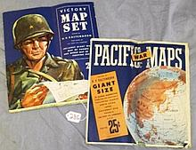 Lot of 2 Pure Oil Map Sets- War Map and Victory Map