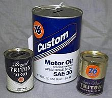 Lot of 3 Union 76 oil Can Banks- Quart size and Miniature