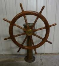 Ship Wheel on Brass Stand by Dake Engine Grand Haven