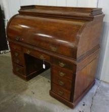 Antique Roll Top Desk in Maple with Writing top and Solid Roll