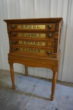 Oak Clark's Spool Thread Cabinet with 4 Reverse Painted Drawers On Stand