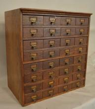 Oak Card File Cabinet 32 Drawers