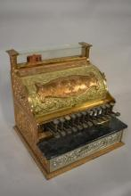 1893 Brass 2 Tone National Cash Register with Side Mounted Clock