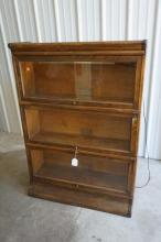 Antique Barrister's Stacking Bookcase with Glass Fronts- 3 Sections with Top and Base