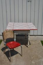 Porcelain Top Red and White Kitchen Table with Side Leaves