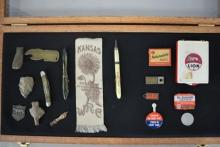 Oak Showcase with Historical and Advertising Items