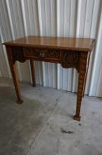 Carved Oak Hall Table With Drawer