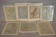 Group of Early Chromolithograph Maps 1847-1905 Matted and Labeled