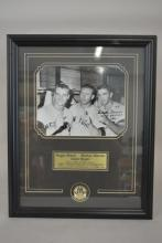Photo of Roger Maris, Mickey Mantle and Clete Boyer- Autographed