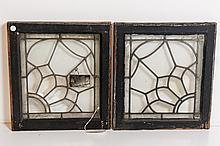 Pair of American Victorian Leaded Windows