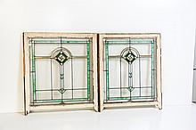 Lot of Two American Stained Glass Windows