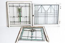 Lot of Three Leaded and Stained Glass Windows