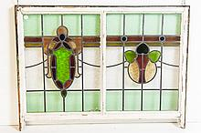 English Stain Glass Window With Hooks For Hanging