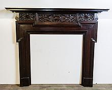 English Heavily Carved Half Mantel